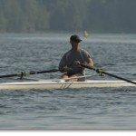 Ronen rowing on Hosmer Vt.